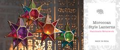 Moroccan Style Lanterns in Coloured Glass > Gifts > Namaste Home Page > Namaste-UK Ltd