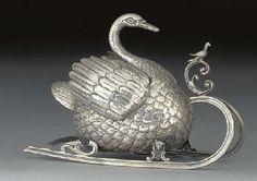A Dutch Silver Swan Ornament