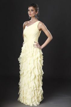 Maxi-dress Yellow Dress, One Shoulder Wedding Dress, Collection, Wedding Dresses, Beautiful, Style, Fashion, Dress Ideas, Fashion Ideas