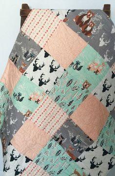 Baby Quilt, Gender Neutral, Patchwork, Hello Bear, Fox, Raccoon, Owl, Leaf, Woodland, Deer, Mint, Coral, Crib Bedding, Baby Bedding, Child