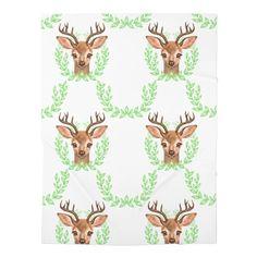 Baby Deer Print Baby Swaddle Blanket, Receiving Blanket, Woodland crib – Trendy Lime
