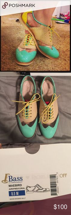 Rachel Antonoff Bass Oxford Maebird EUC worn for a wedding and a few other times.  Leather and man made materials. 3 color wingtip with patent leather. Very comfortable! Bass Shoes Flats & Loafers