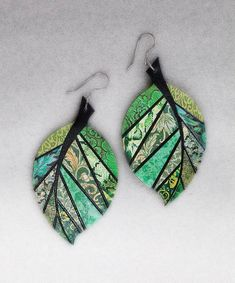 Made To Order Paper Mosaic Earrings Upcycled by MarjEngleDesigns Paper Earrings, Paper Jewelry, Fabric Jewelry, Paper Beads, Leaf Earrings, Polymer Clay Earrings, Jewelry Crafts, Recycled Jewelry, Handmade Jewelry