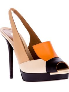 FENDI paneled peep toe pump