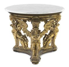 A Neoclassical Giltwood Center Table, Height 32 x diameter 38 1/2 inches.