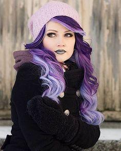 Hair Care : Purple hair color for Winter - LadyStyle.:separator:Hair Care : Purple hair color for Winter - LadyStyle. Hair Color Purple, Hair Dye Colors, Cool Hair Color, Purple Ombre, Long Purple Hair, Purple Hair Dyes, Crazy Colour Hair Dye, Elumen Hair Color, Bright Purple Hair