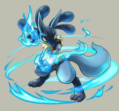 Lucario using aura sphere