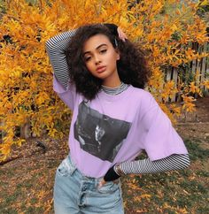 purple graphic tee with a black and white striped blouse. Visit Daily Dress Me a Fall Outfits black Blouse daily dress Graphic Purple Striped Tee Visit white Grunge Outfits, Outfits Casual, Mode Outfits, Girl Outfits, T Shirt Outfits, Purple Outfits, School Outfits, Look Fashion, 90s Fashion