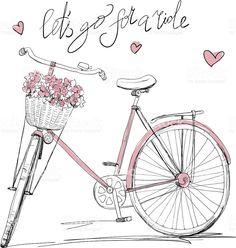 Картинки по запросу велосипед с цветами рисунок