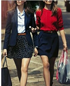 spring work outfits, patterned or polka dot skirt, light blue button up tucked in, brown belt, navy blazer. Or red sweater tucked into a Navy skirt. Ilove both these outfits!!