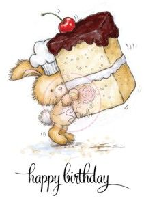 BUNNY WITH CAKE Clear Stamp Bunnies Collection from Wild Rose Studio