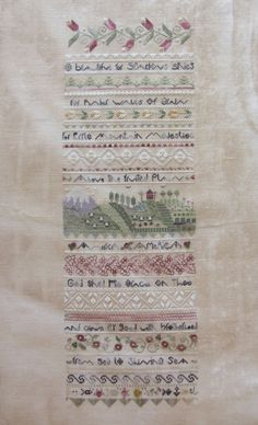 O Beautiful by Shepherd's Bush - MADE TO ORDER Unframed Finished Cross Stitch on Linen