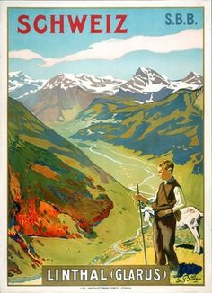 Schweiz Linthal (Glarus) Vintage Travel Poster - Poster Paper, Sticker or Canvas Print / Gift Idea / Christmas Gift Travel Ads, Travel And Tourism, Travel Images, Vintage Travel Posters, Vintage Ads, Fürstentum Liechtenstein, Retro Poster, Poster Poster, Tourism Poster