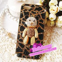 Bling Bling Luxury 3D cute bear iPhone 4 Case by Elodieforever, $29.99