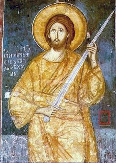 """I came not to bring peace but to bring a sword"" The fresco is in the katholikon of the Sacred Monastery of the Ascension of Christ (Visoki Dečani) in Kosovo and dates back to the century. Byzantine Icons, Byzantine Art, Religious Icons, Religious Art, Religion, Orthodox Icons, Sacred Art, Christian Art, Christian Images"