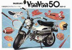 Suzuki Van Van 50, Japan. Suzuki Bikes, Moto Suzuki, Suzuki Motorcycle, Moto Bike, Small Motorcycles, Vintage Motorcycles, Suzuki Van Van, Motorcycle Posters, Motor Engine