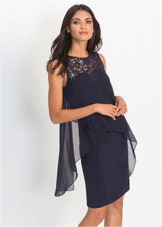 fd58826885 Sukienka z dżerseju i szyfonu • ciemnoniebieski • bonprix sklep
