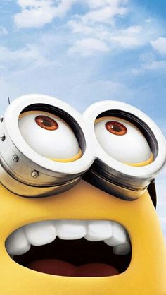 MINION looking up into a blue sky  - Despicable Me movie - iPhone wallpaper background cell phone screen