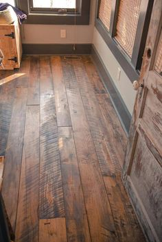 """Hand Crafted """"Granny's Store"""" Flooring Appalachian Mixed Hardwoods - Bodenbelag Rustic Wood Floors, Farmhouse Flooring, Kitchen Flooring, Pallet Floors, Distressed Wood Floors, Diy Wood Floors, Hardwood Floor Stain Colors, Wood Look Tile Floor, Floor Colors"""