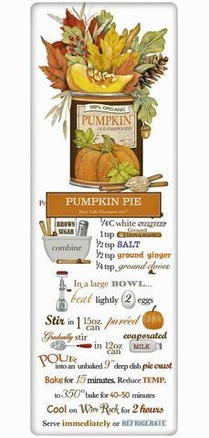 Traditional Thanksgiving Pumpkin Pie Recipe 100% Cotton Flour Sack Dish Towel Tea Towel
