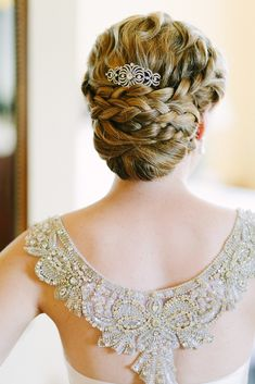 The perfect updo with just a little bling. Photography: Joel Bedford - joelbedfordweddings.ca, Hair: Showpony - showponyhair.com  Read More: http://www.stylemepretty.com/canada-weddings/2014/07/22/romantic-vintage-inspired-wedding/