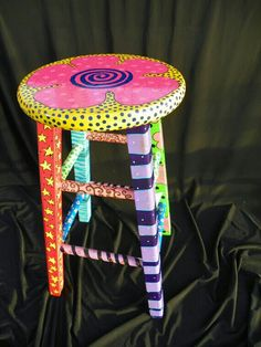 """bright, funky, eclectic, hand painted, one-of-a-kind stool"" Art Furniture, Funky Furniture, Recycled Furniture, Wicker Furniture, Furniture Projects, Furniture Makeover, Furniture Design, Plywood Furniture, Office Furniture"