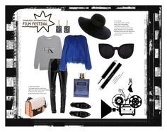 """""""#filmNoir"""" by nancykou ❤ liked on Polyvore featuring Calvin Klein Jeans, Anthony Vaccarello, Oui, Odile!, River Island, Eugenia Kim, Todd Pownell and Delalle"""