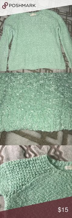 Mint knitted sweater It's like a minty color. The pictures captured the color very well! Longer than cropped but also shorter than most sweaters. 70% polyester & 30% acrylic. Forever 21 Sweaters