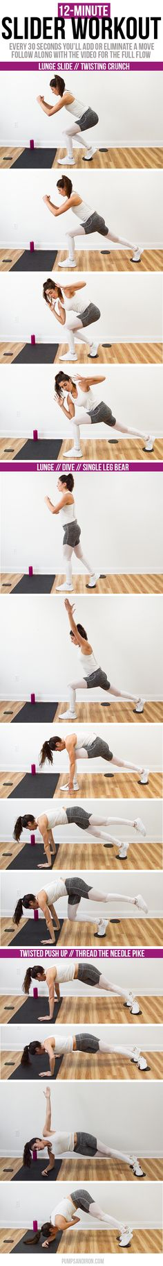 12-Minute Full Body Slider Workout -- low impact but CHALLENGING! Follow along with the video to get the whole flow of the sequence.