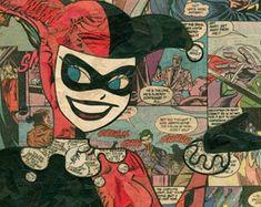 Harley Quinn Comic Collage Giclee Print by ComicReliefOriginals Joker Comic, Harley Quinn Comic, Bruce Timm, Comic Collage, Comic Art, Jim Lee, Old Comics, Vintage Comics, Cartoon Art
