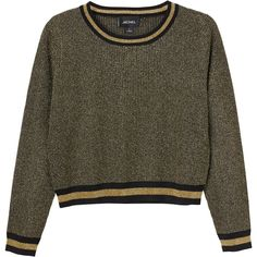 Monki Malin knitted top (945 CZK) ❤ liked on Polyvore featuring tops, sweaters, jumper, sweatshirts, striped jumper, brown striped sweater, rib knit sweater, ribbed knit sweater and monki