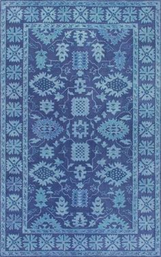 Floral Overdyed Rug in Indigo Blue - Yarn and Loom Rugs