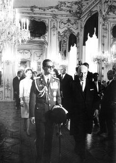 His Majesty King Bhumibol Adulyadej aka Rama IX Her Majesty Queen Sirikit and austrian president Adolf Scharf in Hofburg Palace in Vienna Austria.