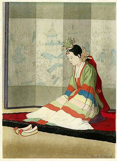 itle: Korean Bride Artist: Elizabeth Keith Date: 1938 Image Size: dai oban, about 11 x 16 inches Notes: According to the Miles catalogue on Elizabeth Keith, this print was published in an edition of 100 copies. Korean Painting, Japanese Painting, Korean Traditional, Traditional Art, Traditional Clothes, Korean Art, Asian Art, Japanese Prints, Japanese Art