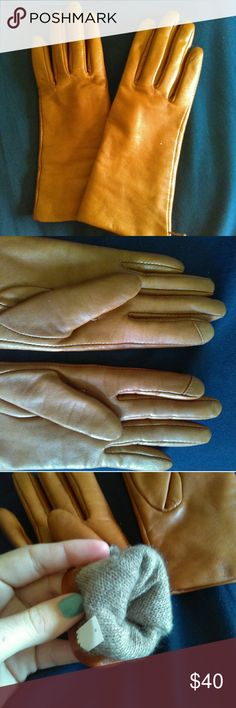 Tan JCrew Leather Gloves (Cashmere Lining) Size Small buttery soft 100% leather gloves with 100% cashmere lining. The gloves feature a smart touch finger tip for smart phones. No scuffs, scratches, or damage in the leather or lining. This is a reposh as they are regrettably just a little too narrow for me. J. Crew Accessories Gloves & Mittens