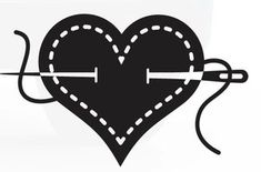 I Heart Sewing Decal/Window Sticker - white