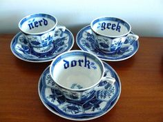 Nerd Dork Geek teaset by trixiedelicious on Etsy