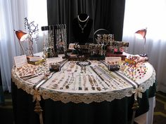 Craft Show Table Display Round Table November 2012 Abbotsford, BC Display for Bits n Beads by Gilliauna, The Teardrop Shop and Stumbling On Sainthood. Jewelry Booth, Jewelry Show, Jewelry Armoire, Jewelry Holder, Jewelry Rack, Jewelry Boards, Girls Jewelry, Jewelry Stand, Hanging Jewelry
