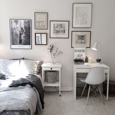 Charming bedroom with small work space with Ikea 'Micke' desk