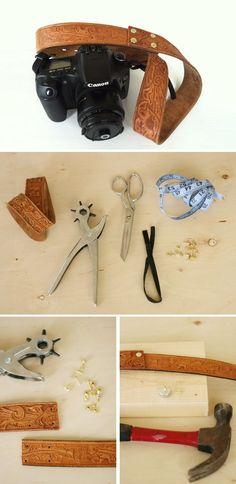 DIY :: Camera strap from a vintage leather belt ( http://www.poppytalk.com/2013/08/diy-vintage-belt-camera-strap.html )