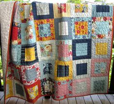 Framed Quilt in PB & J by Basicgrey, Moda pre-cut Layer Cake Quilt