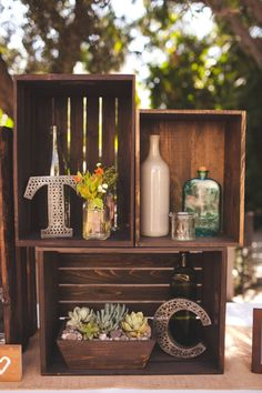 Way to use old wine crates and some of our decor