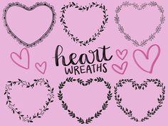 HEART FLORAL WREATHS hand-drawn wreaths doodle clipart