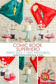 Superhero Birthday Party Ideas with a comic book theme PLUS Free Superhero Party Printables. See all the superhero party decorations on Mint Event Design www.minteventdesign.com #birthdayparty #partyideas #birthdaypartyideas #kidspartyideas #superhero #superheroparty