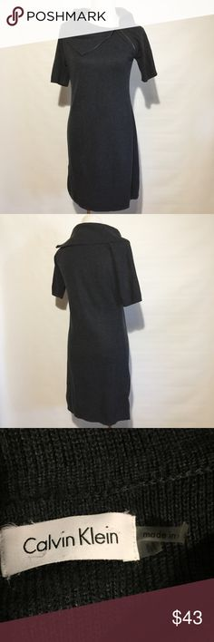 CALVIN KLEIN ZIP COLLAR SWEATER DRESS NWOT. Med is 8/10.  37/38 bust, 31/32 waist, 40.5/41.5 hips according to CK size chart. Charcoal grey color. Calvin Klein Dresses Midi