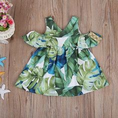 Printed Leaves Sleeveless Dress