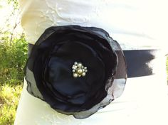 Black Wedding Sash Belt... bridesmaids sash. $25.00, via Etsy.