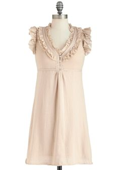 Chai as You May Dress - Cotton, Mid-length, Solid, Ruffles, Daytime Party, Fairytale, Empire, Sleeveless, V Neck, Cream, Fall