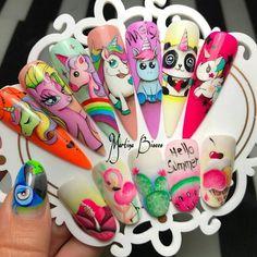 Aycrlic Nails, Get Nails, Love Nails, Cartoon Nail Designs, Animal Nail Designs, Unicorn Nail Art, Nail Art Wheel, Kawaii Nail Art, Anime Nails