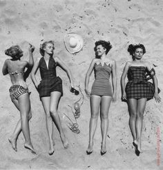 40's, 50's, 60's bathing beauties! Oh my gosh! I have a bathing suit that once belonged to my Mom that looks almost exactly like the suit to the right of the hat. The suit is in great condition and is from the early '50s.